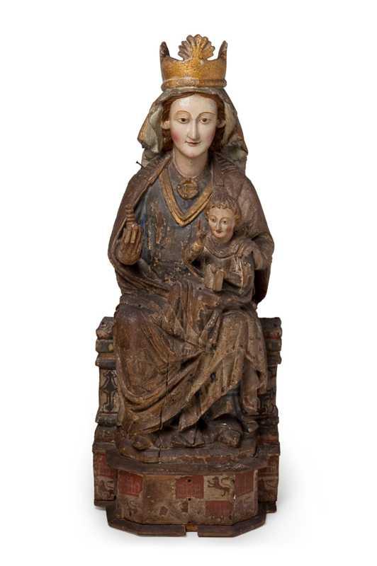 Imagen de la Madre de Dios con el Niño en el Museo Frederic Mares de Barcelona. Talla gótica de la primera mitad del siglo XIV procedente de Alegría-Dulantzi en Álava